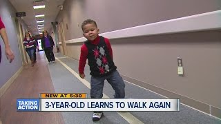3-year-old learns to walk again