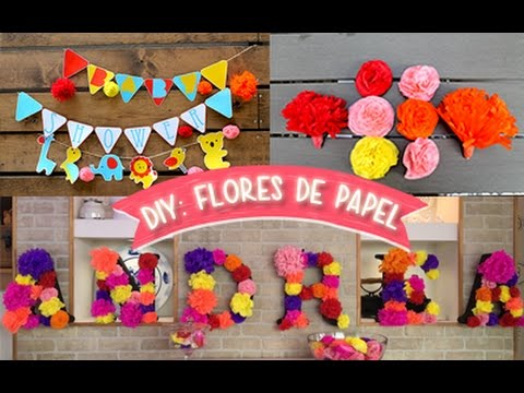 Diy decoraci n para baby shower con flores de papel youtube for Decoracion con papel