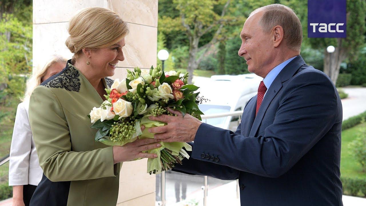 Кадры встречи Путина с президентом Хорватии