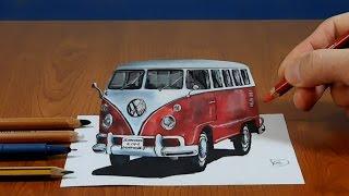 3d painting VW classic van   visual illusion
