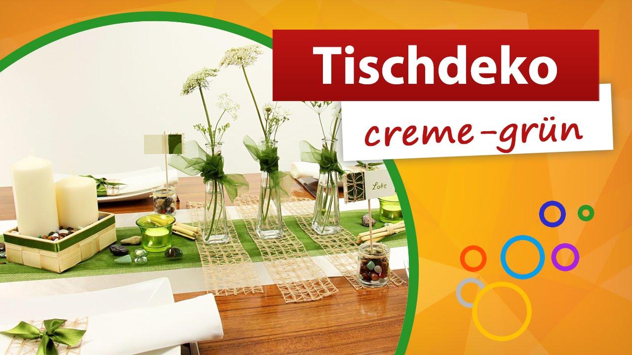 Tischdeko Creme Grun Tischdekorationen Trendmarkt24 Youtube