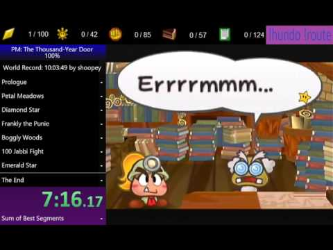 Paper Mario The Thousand Year Door 100% speedrun in 11:39:56