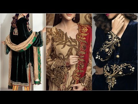 Very Beautiful Velvet Dresses Embroidery Designing Ideas With Best Color Contrast