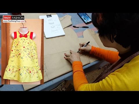 Cách thiết kế váy suông hạ eo cho bé gái | Thời Trang Thủy | Design baby dress