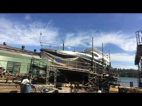 Vinyl wrap of a 75ft Technomarine motor yacht in Sydney