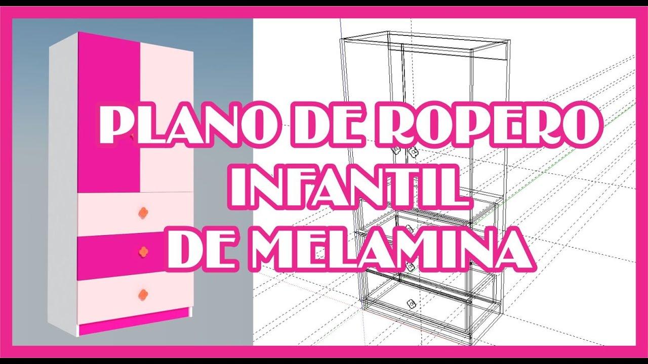 Plano de ropero infantil youtube for Plano ropero melamina
