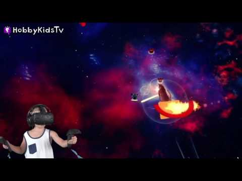 Space Cats with Laser Beams! Virtual Reality Gaming Family Fun HobbyKidsTV |