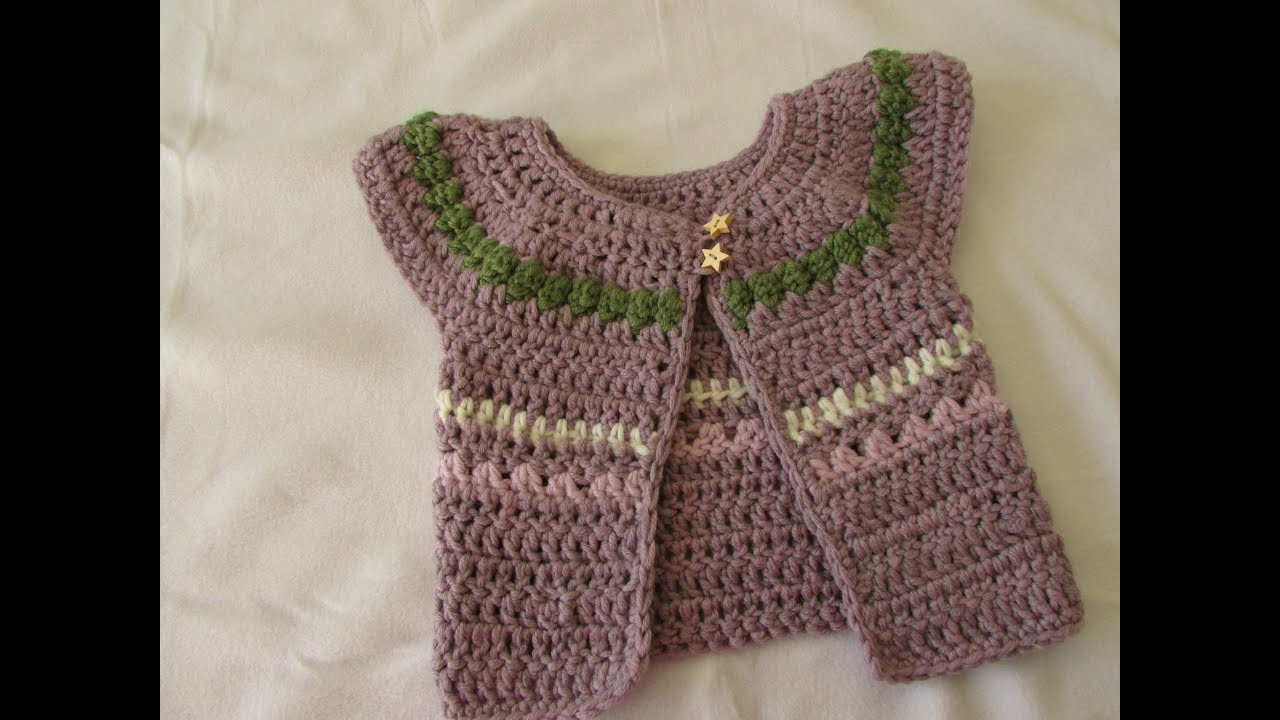 VERY EASY chunky crochet baby / girl\'s cardigan tutorial - fair isle ...