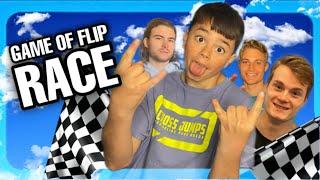 GAME of FLIP RACE! Wie is het snelste? CROSS JUMPS