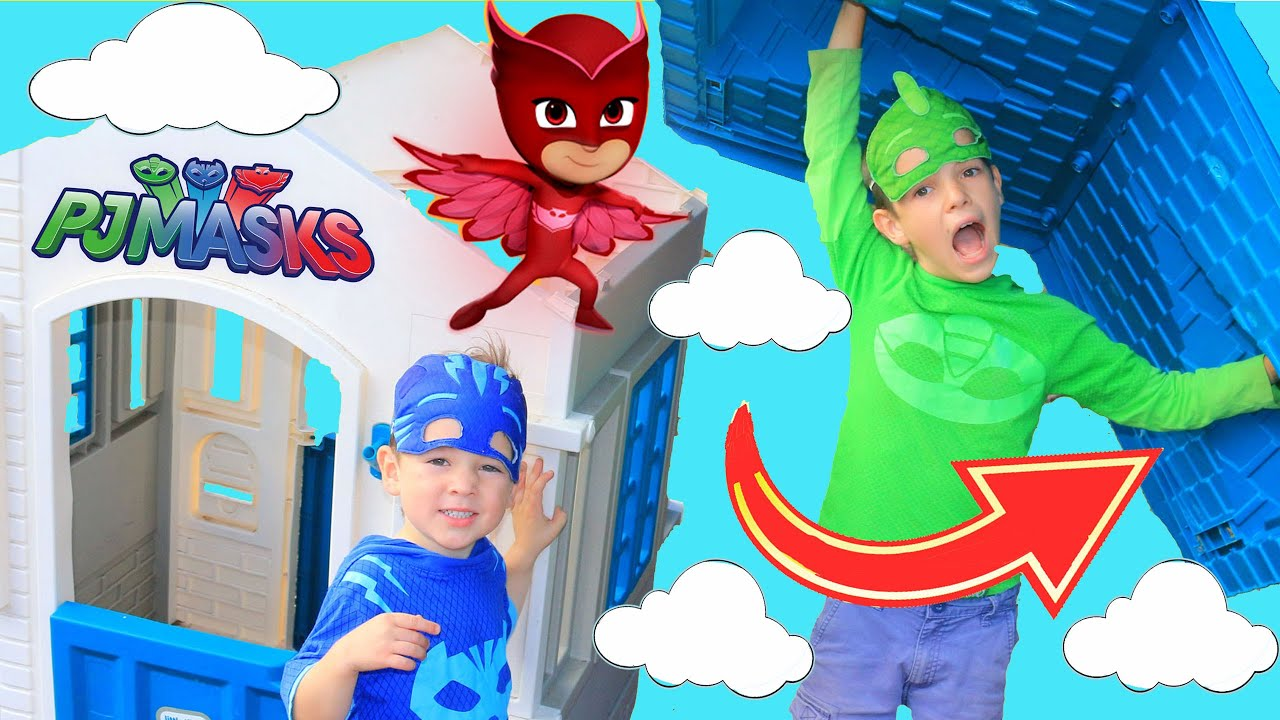 PJ Masks OWLETTE RUINS HQ PLAYHOUSE with Romeo's New Invention