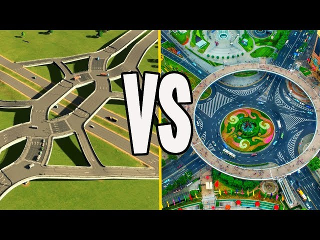 Roundabouts Vs Diverging Diamond...Who WIns in Cities Skylines?