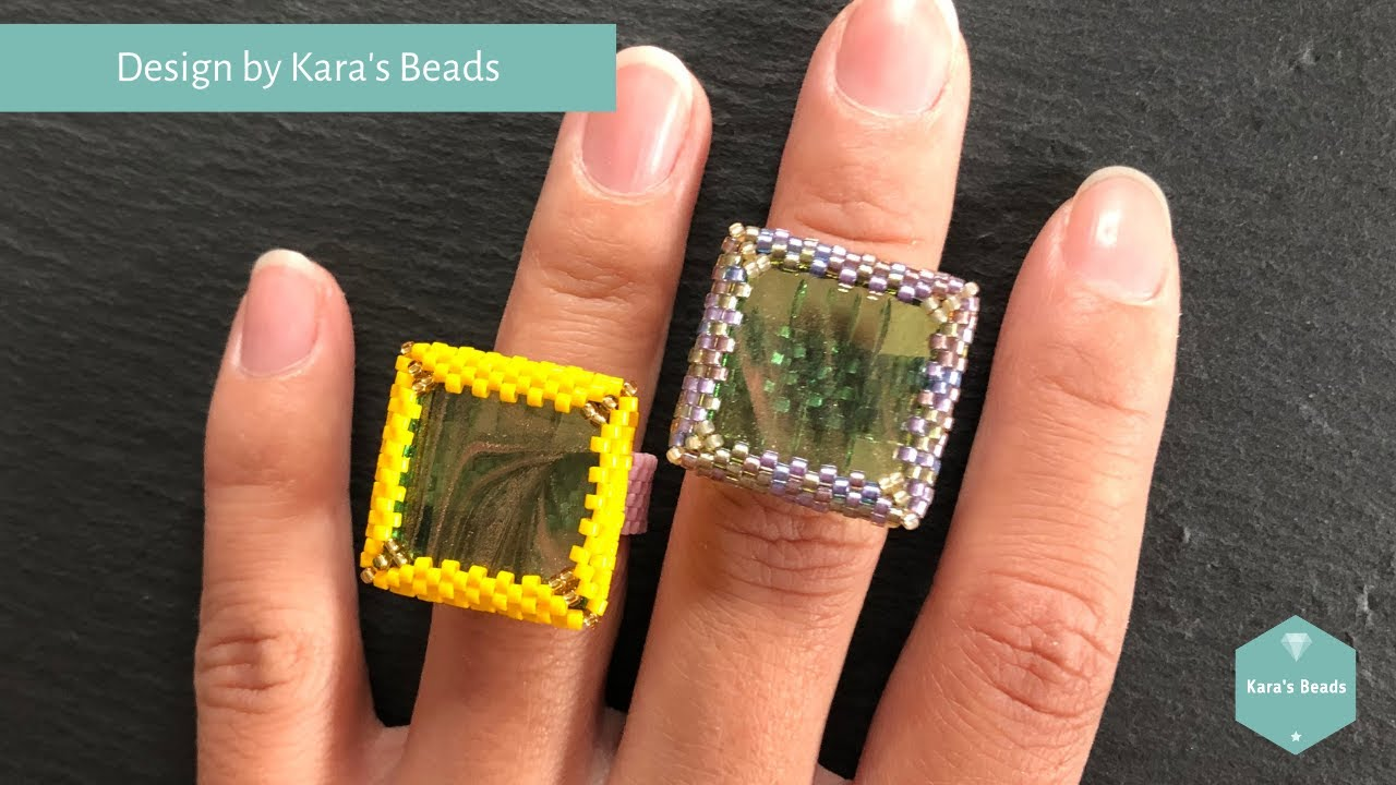 Tile Ring Tutorial | Beaded Bezel Ring | Delica Tile Nymo | Peyote | DIY & Crafts