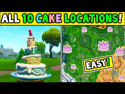 "ALL 10 BIRTHDAY CAKE LOCATIONS! ""Dance In Front Of Different Birthday Cakes"" FORTNITE BIRTHDAY!"