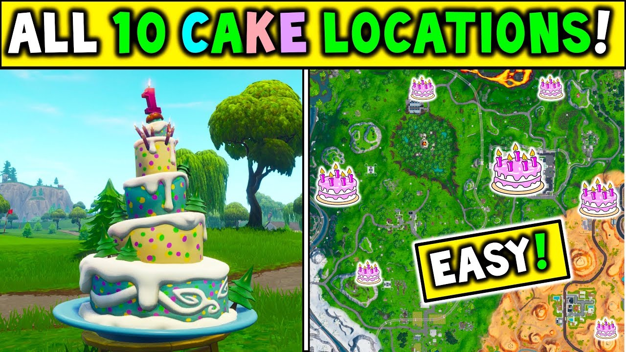 Dance in front of different Birthday Cakes  Fortnite Birthday Cake Locations:
