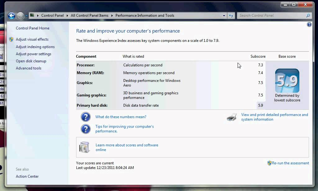 Windows 7 system rating amd phenom2 x4 955 and gtx 460 R rating for windows