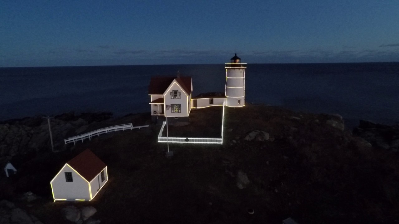 Fly Over at Nubble Light Lit up for Christmas - YouTube