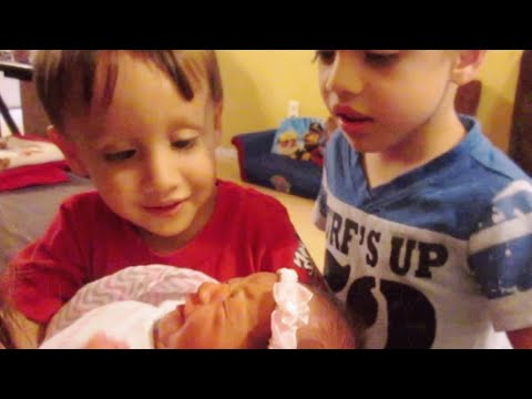 Toddlers React to New Baby Sister - The Boys Meet Madeline