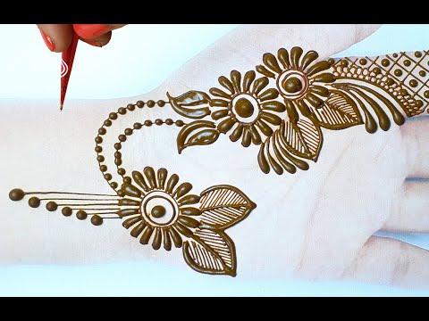 Attractive Flower Jewellry mehndi design - अब मेहँदी डिज़ाइन लगाना है बहुत आसान- Front Hand Mehndi