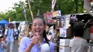 8月29日、2010Jリーグ特命PR部女子マネの足立梨花さんが山梨県小瀬スポ...
