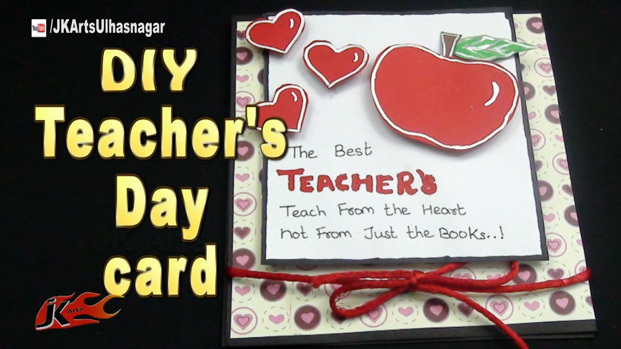 Diy easy teacher   day greeting card how to make jk arts youtube also rh