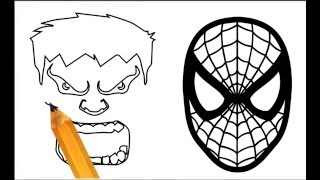 How to draw Hulk and Spiderman face