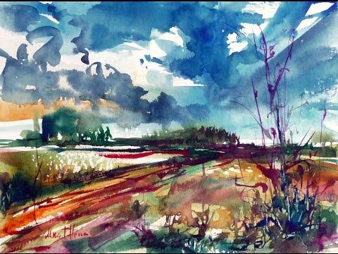 Watercolor painting landscape Demo Rainy landscape - YouTube