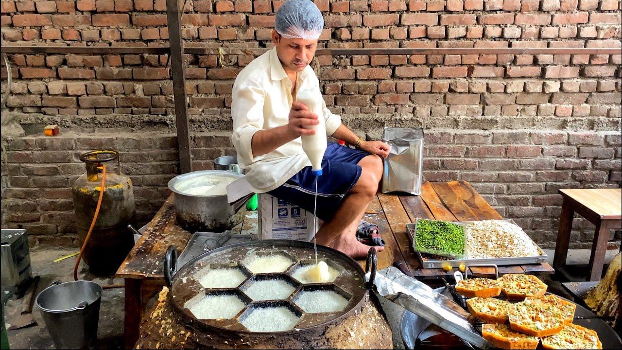 Art Of Ghevar Making ! Dryfruit Loaded Shahi Ghevar   Indian Street Food