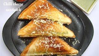 Chilli Cheese Sandwich   Grilled Chilli Cheese Sandwich Recipe
