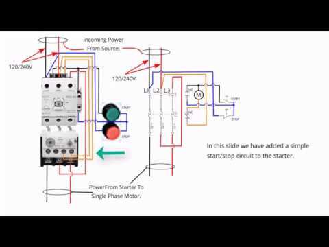 Single Phase Starter Connections YouTube - 240v motor wiring diagram single phase