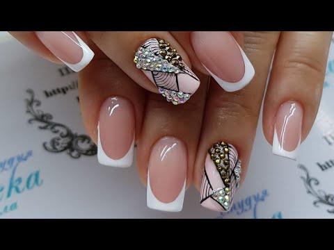Дизайн ногтей нарощенных со стразами