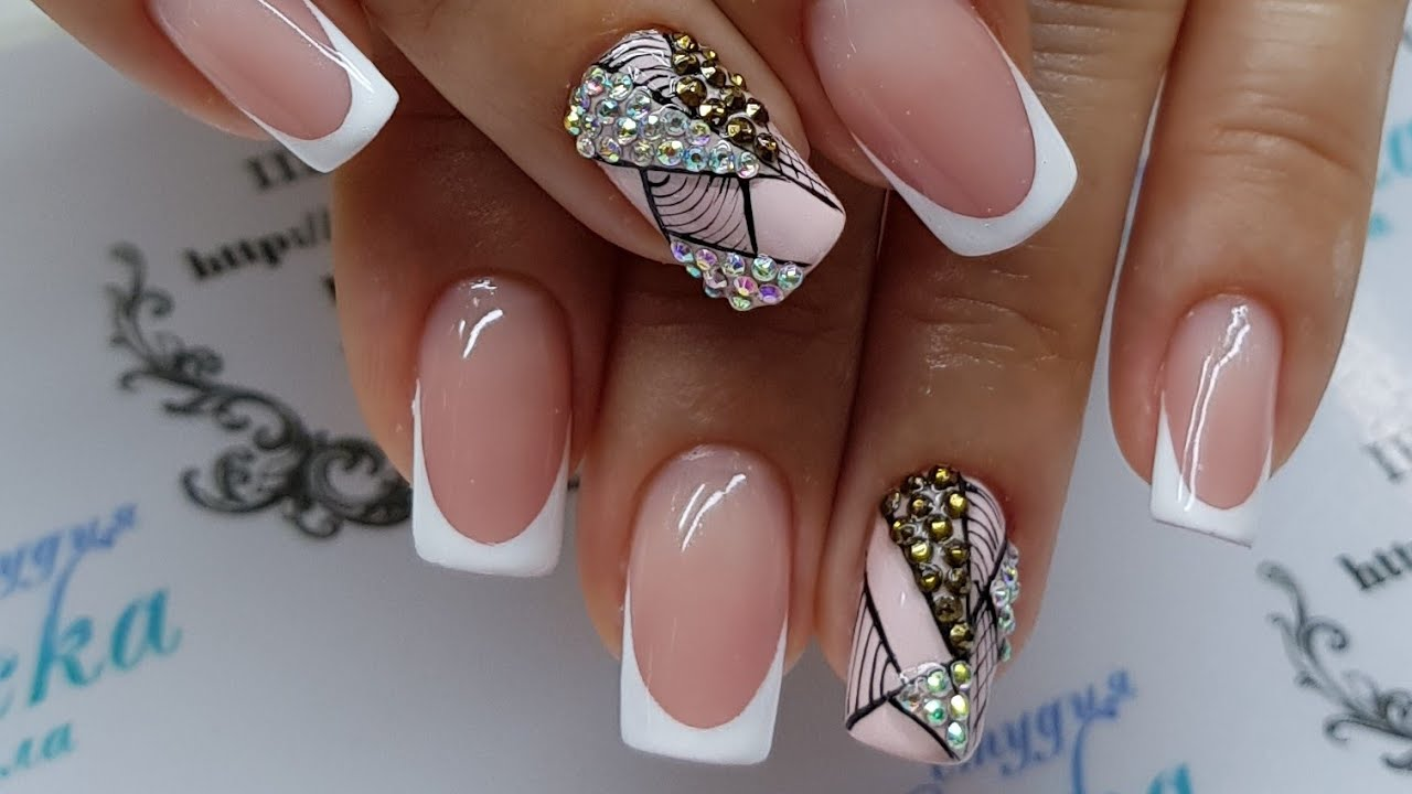 ENG CC How to do very simple nail art design with crystals on white French