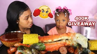 LAYLA HAD A FIGHT!!! (HUGE KING CRAB LEGS + GREEN LIP MUSSELS) SEAFOOD BOIL MUKBANG 먹방 | QUEEN BEAST