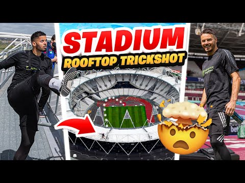 EPIC STADIUM ROOFTOP TRICK SHOT!!! *WORLD RECORD ATTEMPT* 🏟🤯 Thumbnail