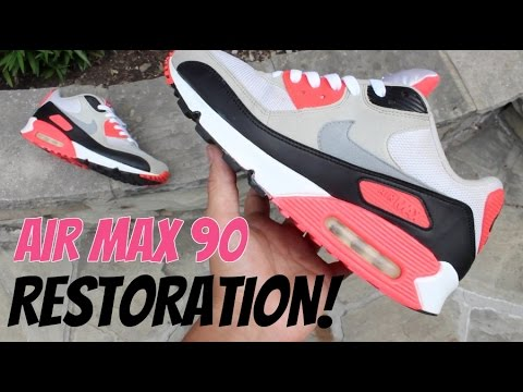 buy popular d00cd 4da0e Air Max 90  Infrared    Full Restoration! (Cleaning, Stripping, Repainting)  - RATE MY RESTORATION!