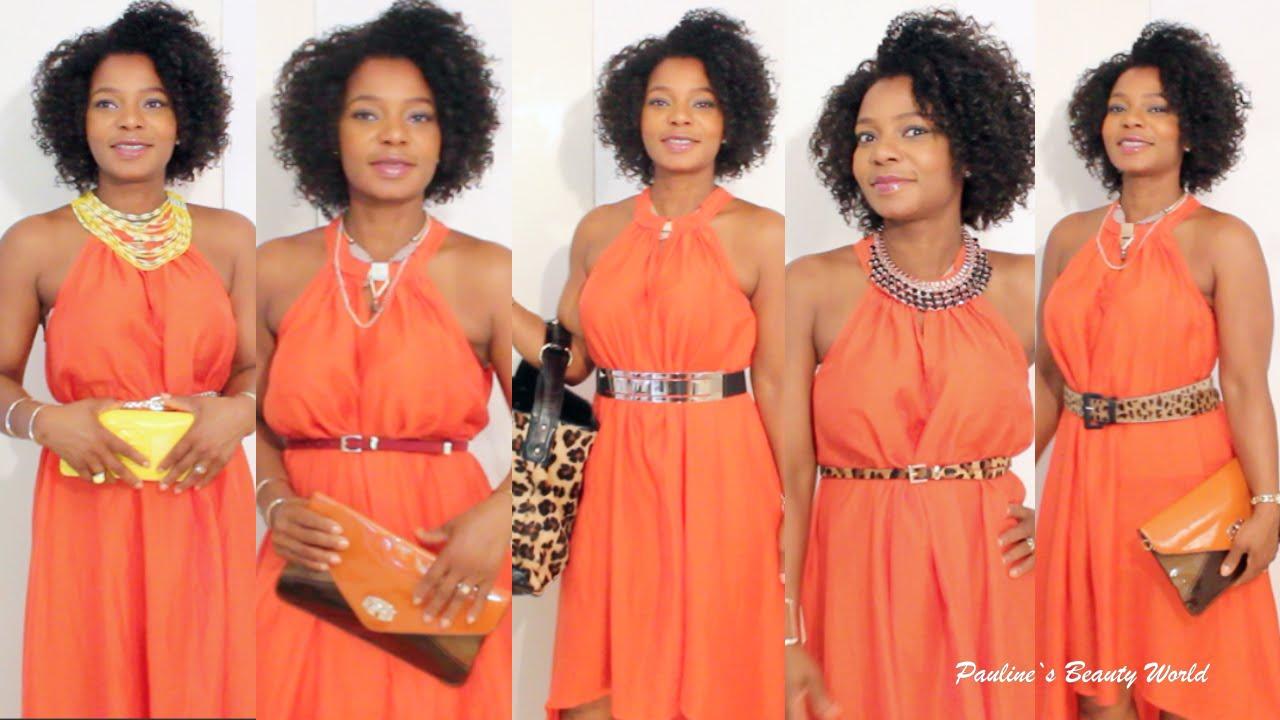 styling tipps 15 ways to accessorize an orange dress. Black Bedroom Furniture Sets. Home Design Ideas
