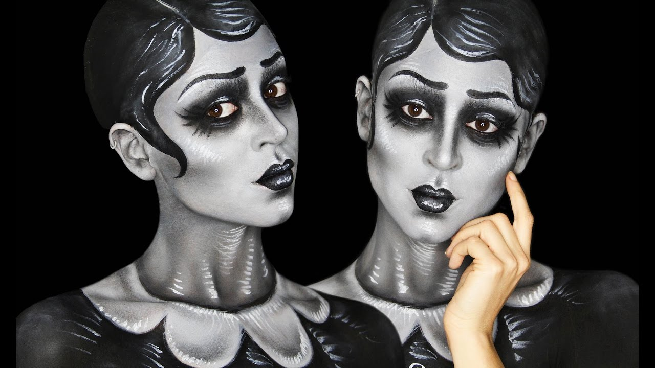 Greyscale Caricature Body Painting Tutorial Youtube