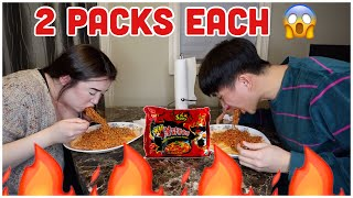 2X SPICY NOODLES SPEED EATING CHALLENGE W/ ALING JULING (matalo tatalon sa snow) | CrisNJules