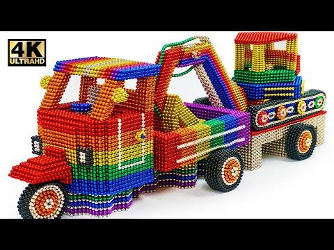 ASMR - How To Make Rickshaw Truck From Magnetic Balls (Satisfying) | Magnet World Series