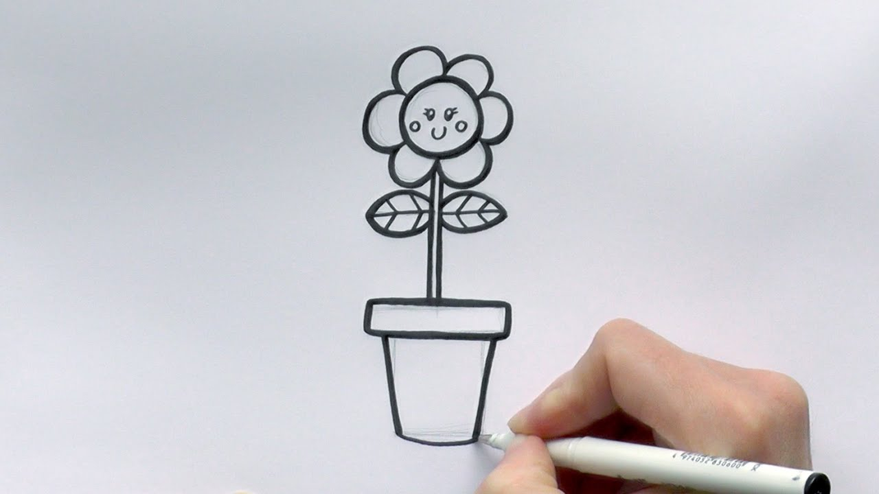 How To Draw A Cartoon Flower In A Flowerpot