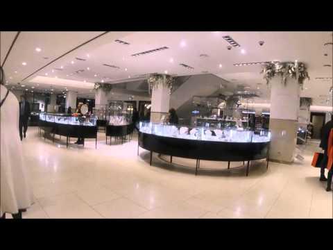 Walking in Famous Tsum Shopping Russia Moscow Cosmetics Menswear