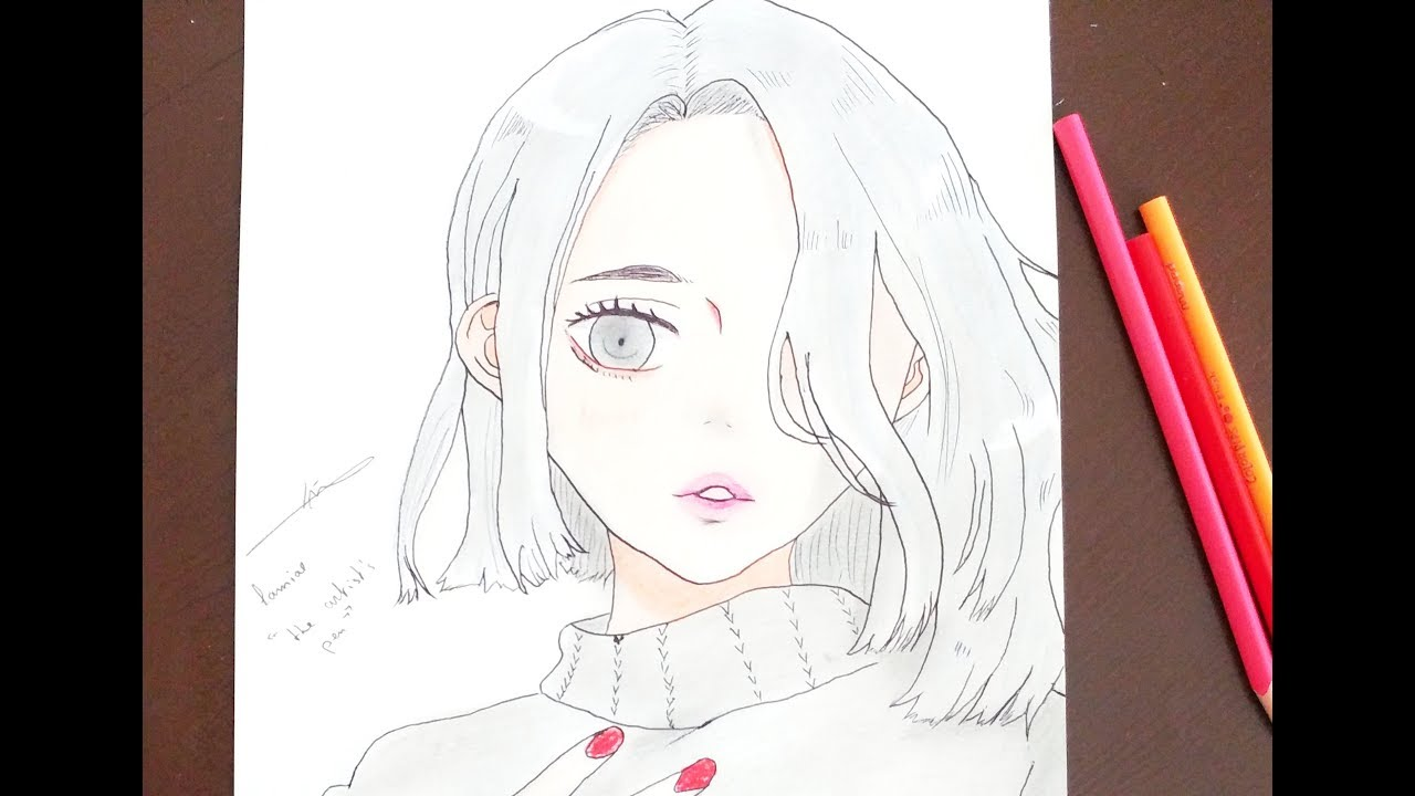 How to draw anime girl with pencil easy draw the artists pen