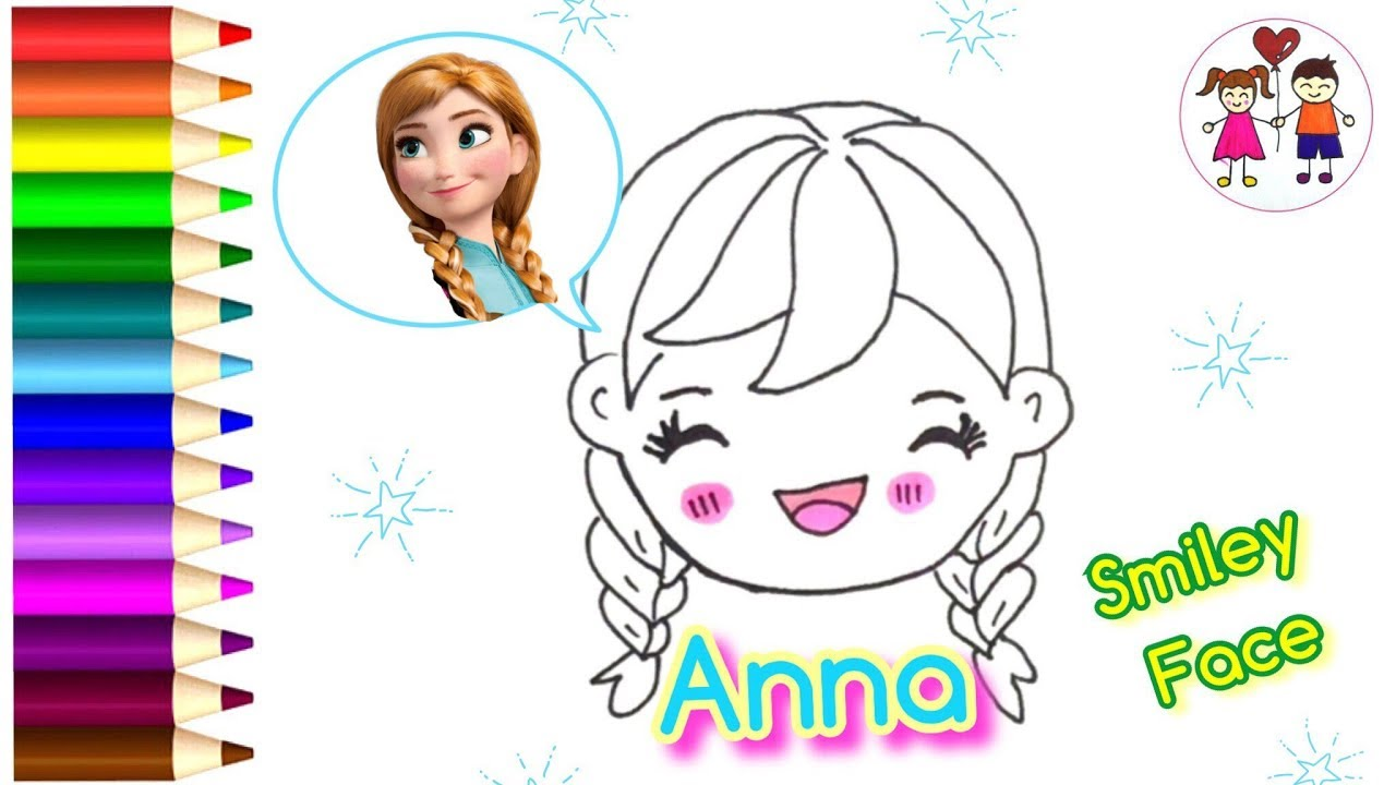 disney frozen anna smiley face coloring pages how to draw