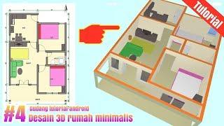 Desain 3D Rumah  6x9 minimalis 2 kamar Full furniture || Part #4