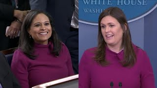 Sarah Huckabee Sanders Wears Same Dress as Reporter to White House Presser