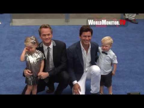 Neil Patrick Harris, David Burtka and the Kids arrive at Smurfs 2 World film premiere