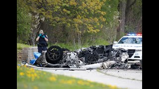 TWO DEAD IN FIERY CRASH: Mangled wreckage of a Ferrari on Mississauga road