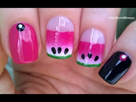 Watermelon Inspired Summer Nail Art Easy Ombre Nails