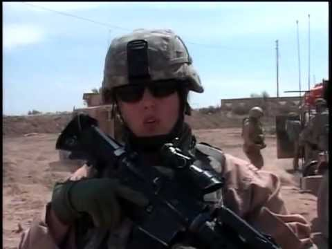 Army MP's escort Marine EOD on weapons cache disposal (Ramadi, Iraq)