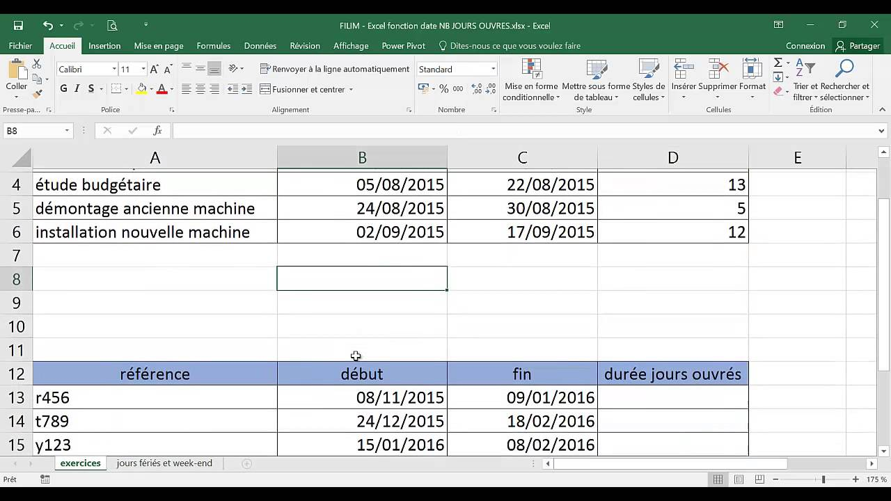 Excel Fonction Date Nb Jours Ouvres Youtube