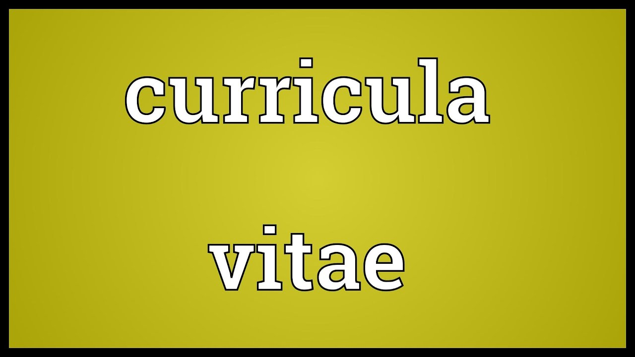 Curricula Vitae Meaning Youtube